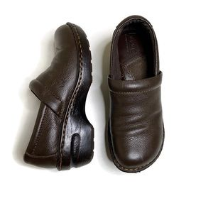 b.o.c. Slip on Clogs Brown Leather Shoes